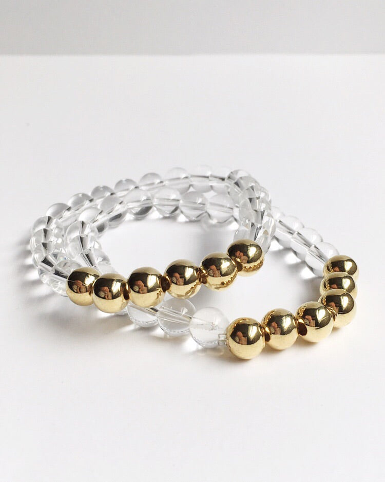 Clear Quartz and Gold Stacking Bracelets
