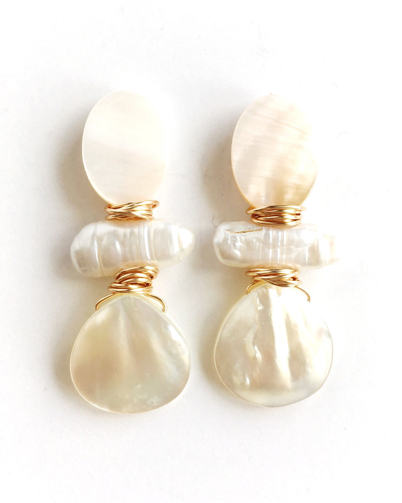 Mother of Pearl Oval, Pearl, and Teardrop Earrings