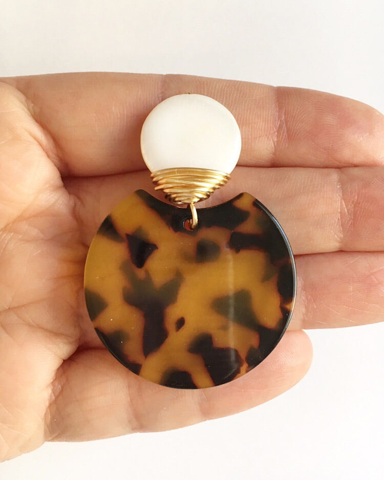 Tortoise Shell and Mother of Pearl Earrings