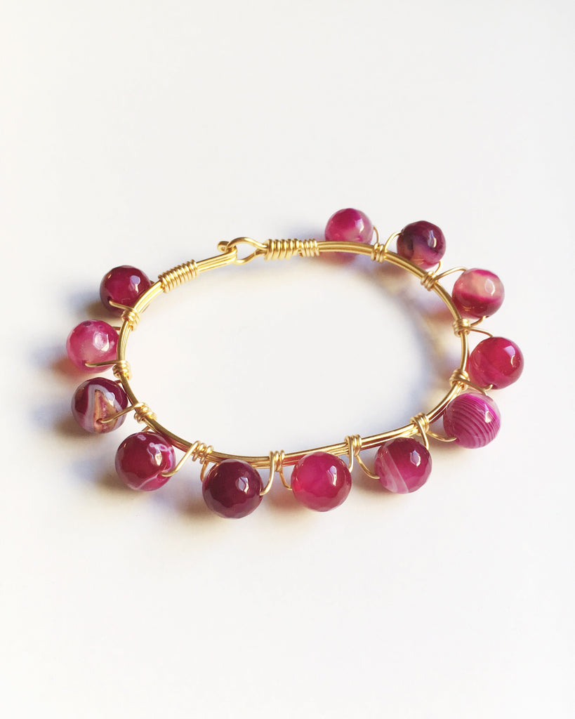 Pink Agate and Gold Wire Wrapped Bracelet