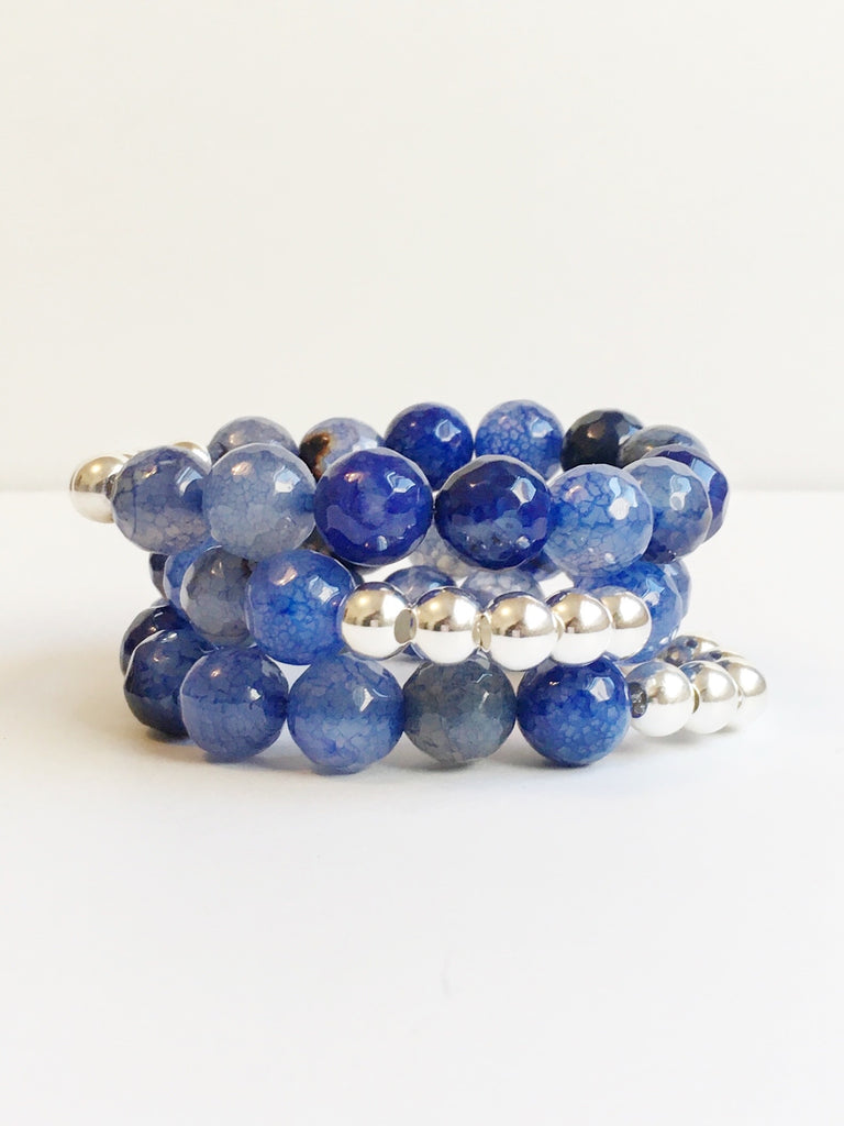 Blue Agate and Silver Bead Bracelet