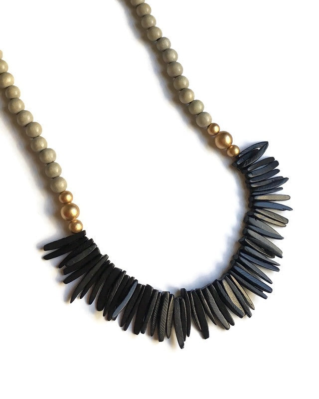 Black and Gray Long Statement Necklace