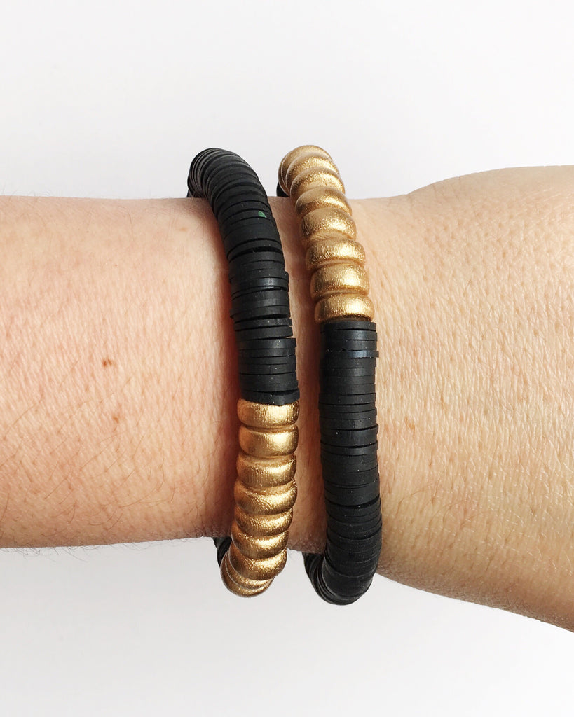 Black Confetti Stacking Bracelet