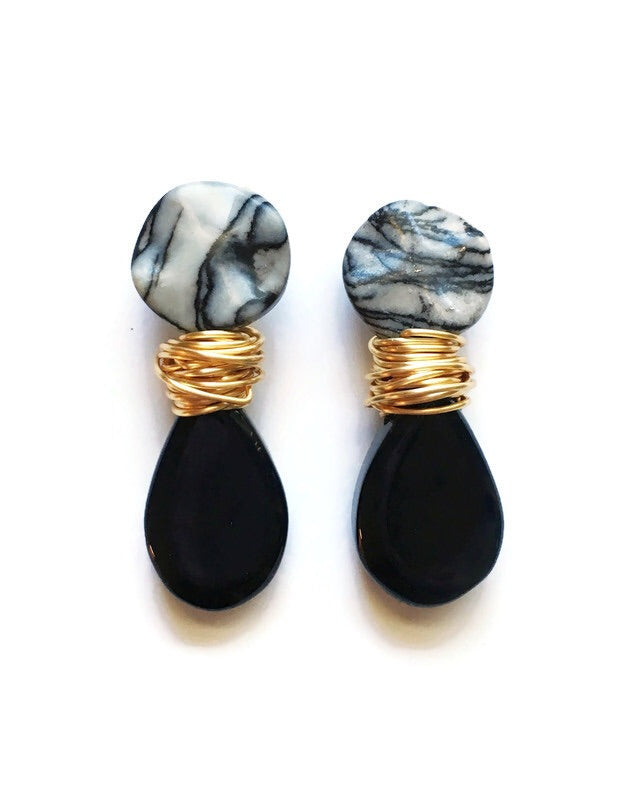 Striped Jasper, Onyx and Gold Wire Wrapped Earrings