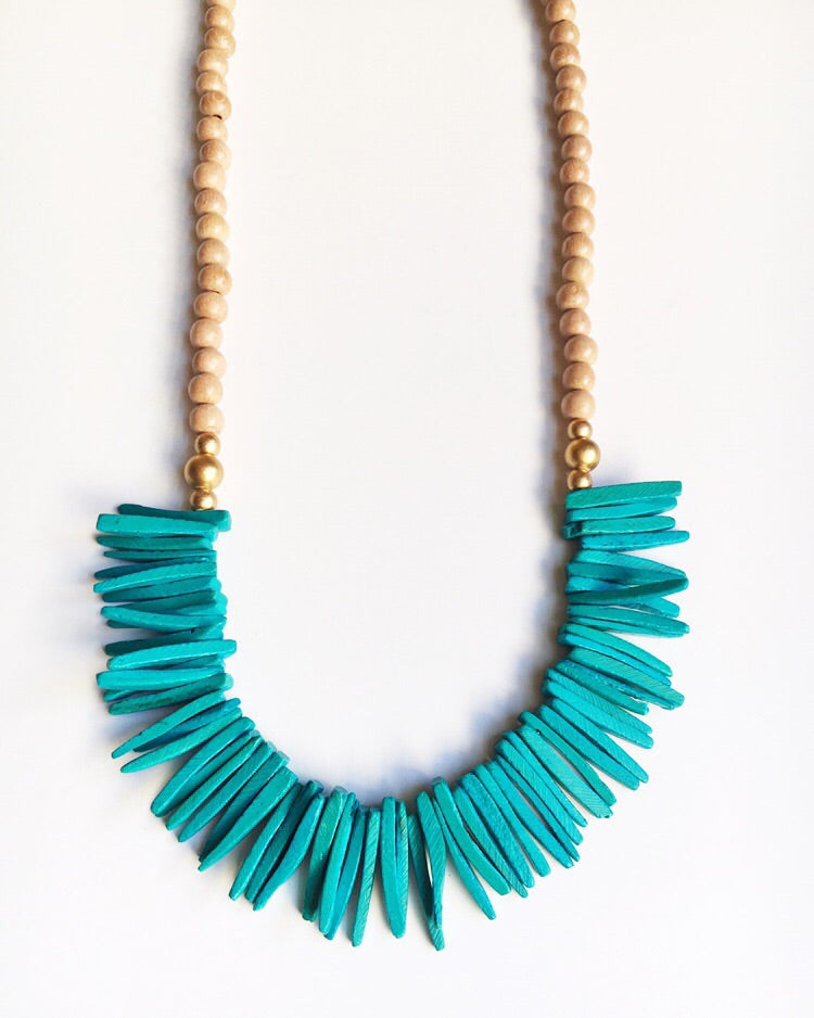 Long Turquoise, Gold, and Beige Tassel Statement Necklace