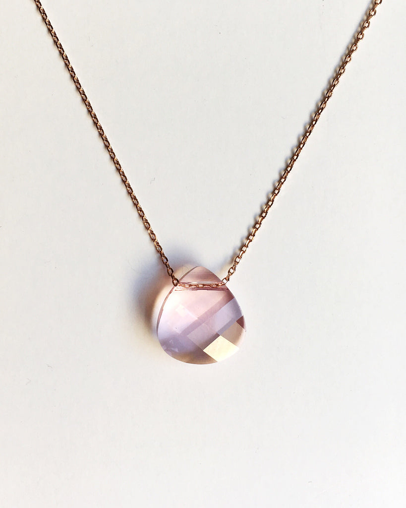 Light Pink Crystal Teardrop Necklace