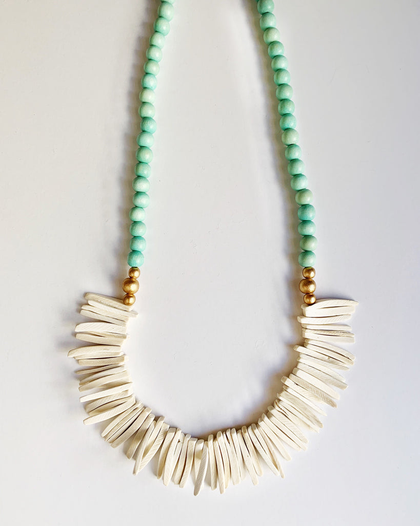 Sea Foam Green and White Long Beaded Necklace
