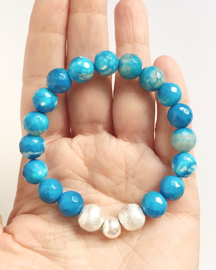 Turquoise Agate and Silver Beaded Bracelet