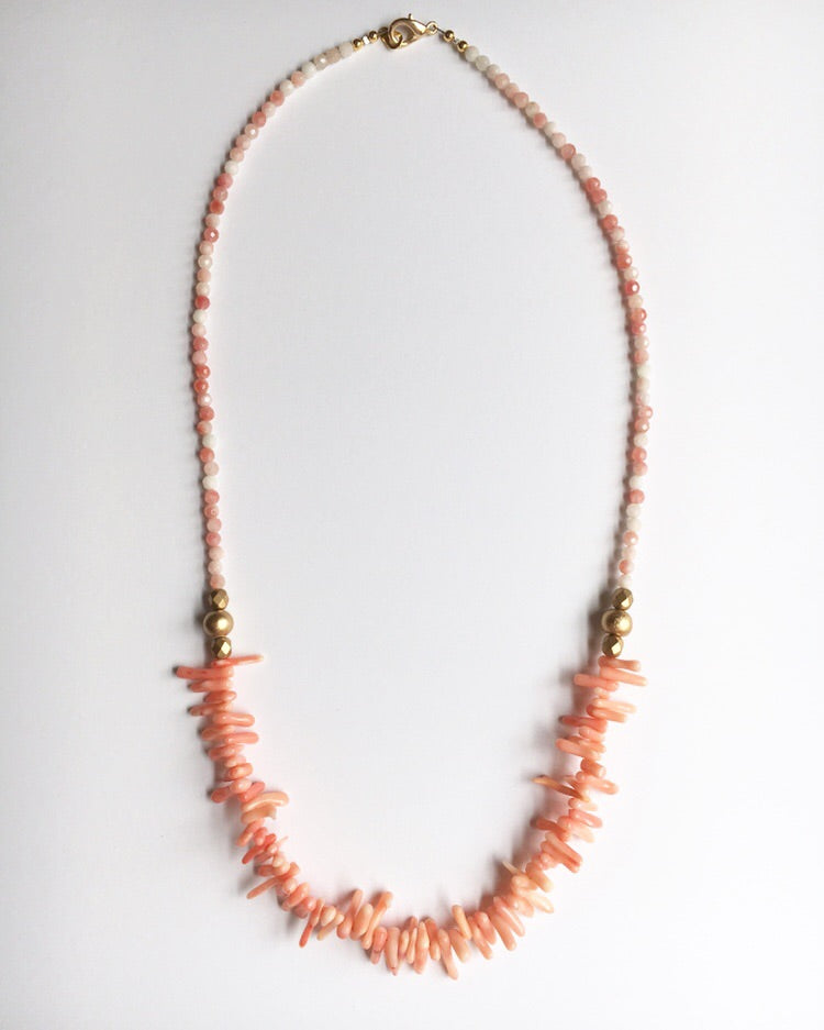 Coral Long Statement Necklace