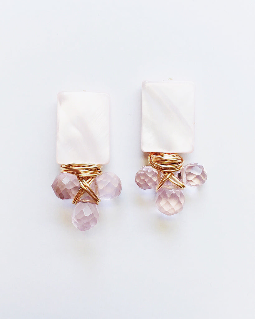 Rose Quartz and Small Teardrop Cluster Earrings