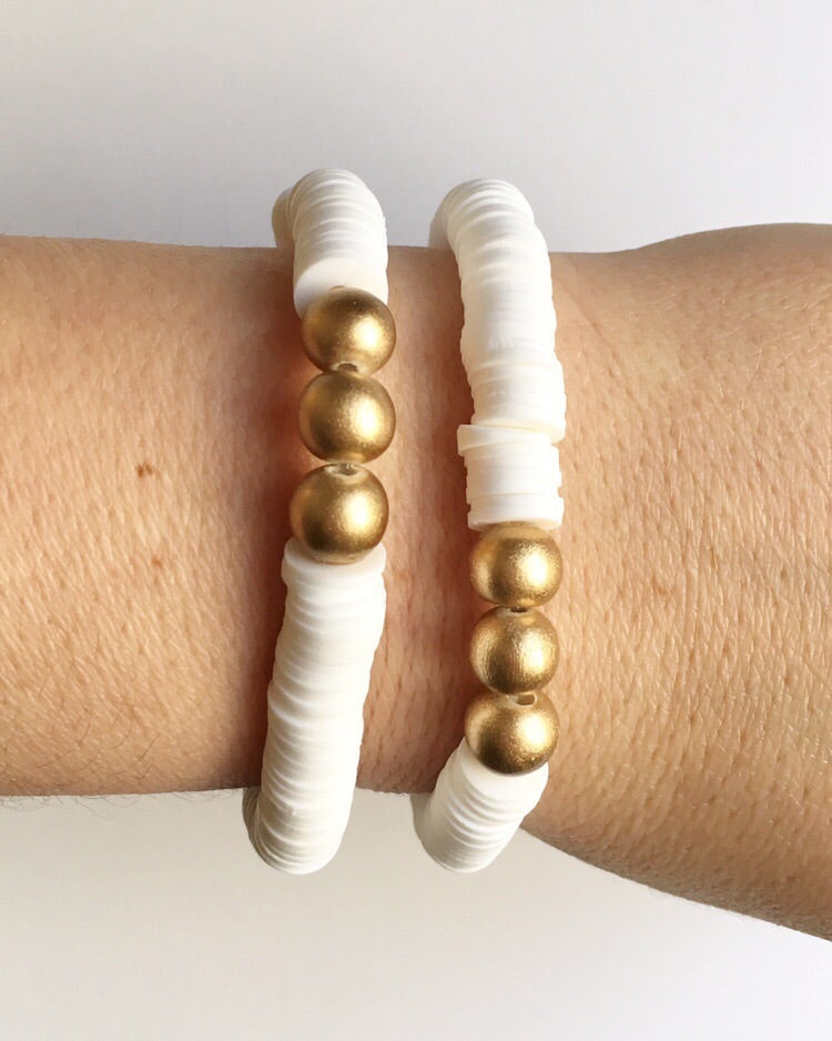 White Confetti Stacking Bracelet