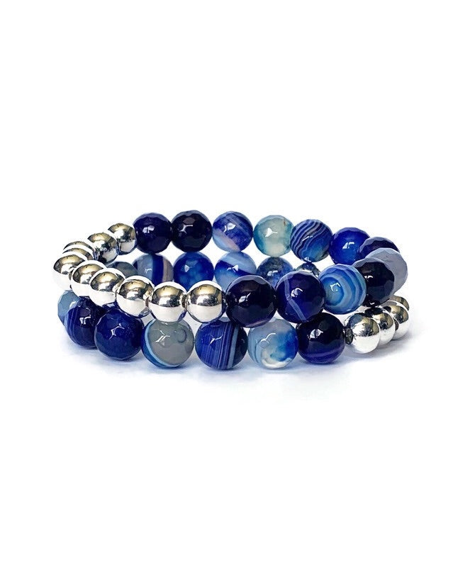Blue Striped Agate and Silver Bead Bracelet
