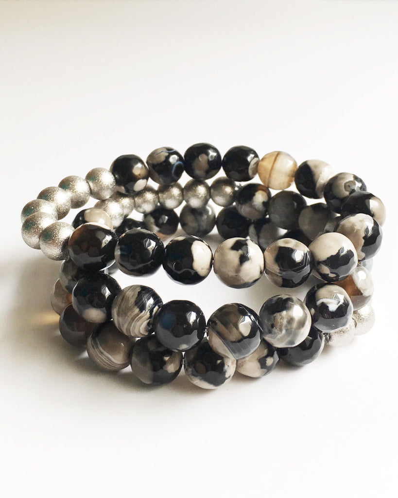 Black and Gray Agate Beaded Bracelet