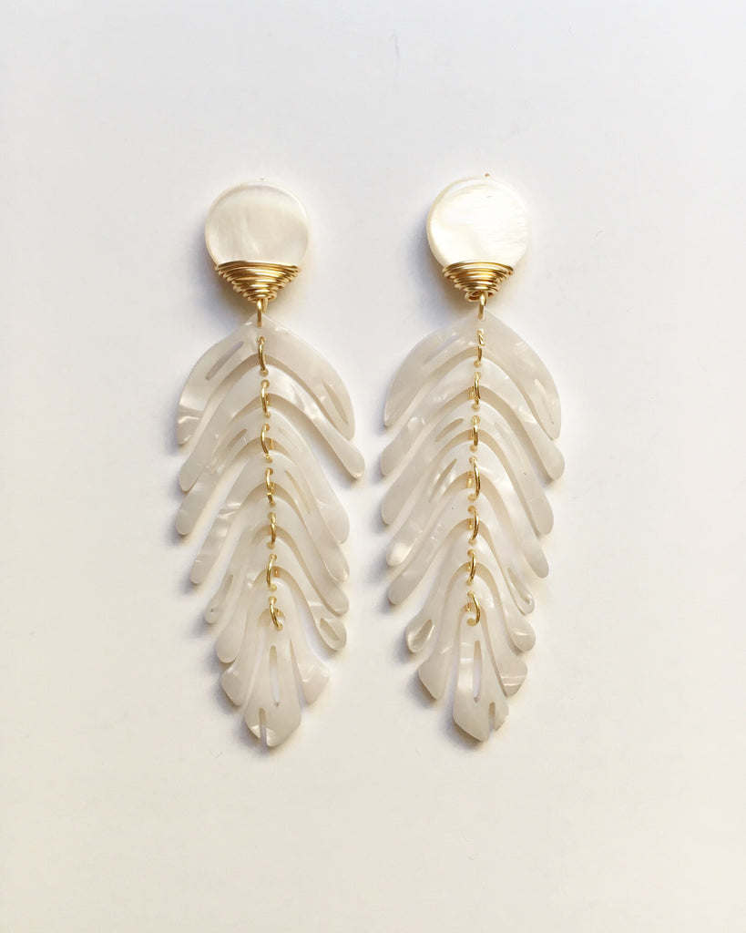 White Palm Leaf Earrings