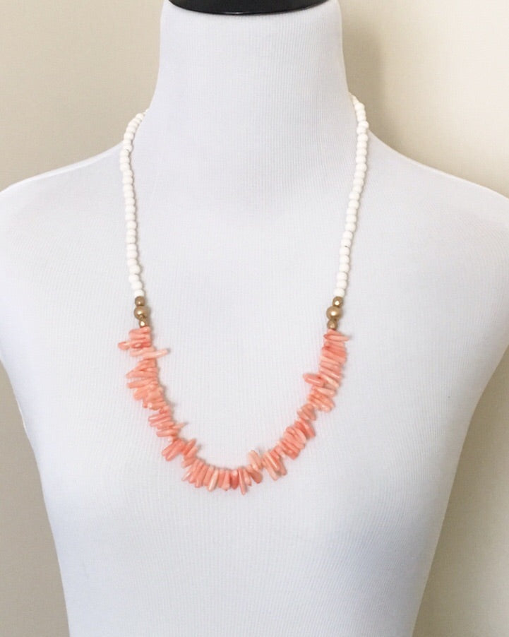 Coral and Wood Spike Long Necklace