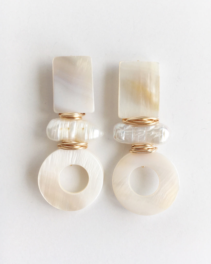 Three Stone Mother of Pearl Drop Earrings