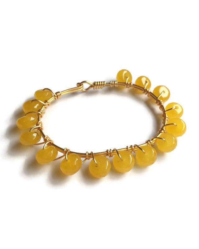 Yellow Jade and Gold Wire Wrapped Bangle