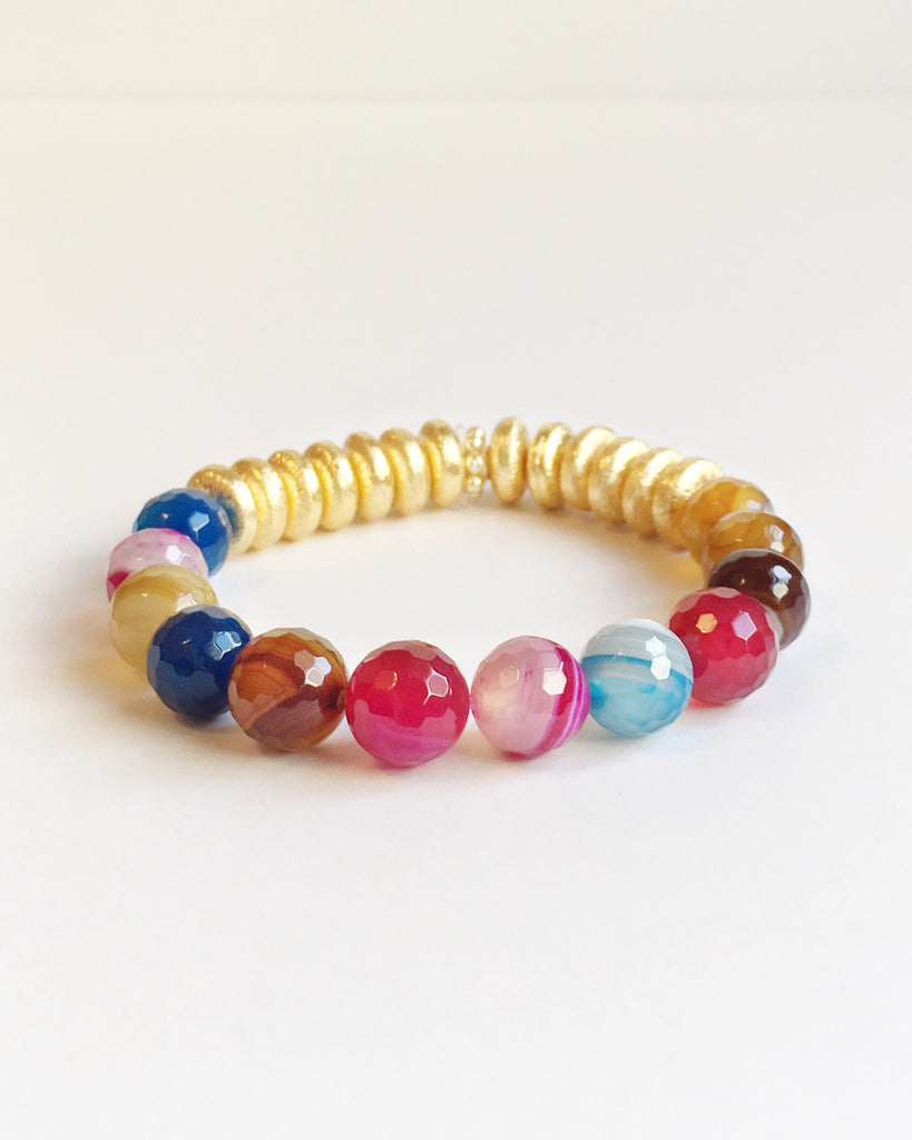 Multi Color Agate and Gold Bracelet