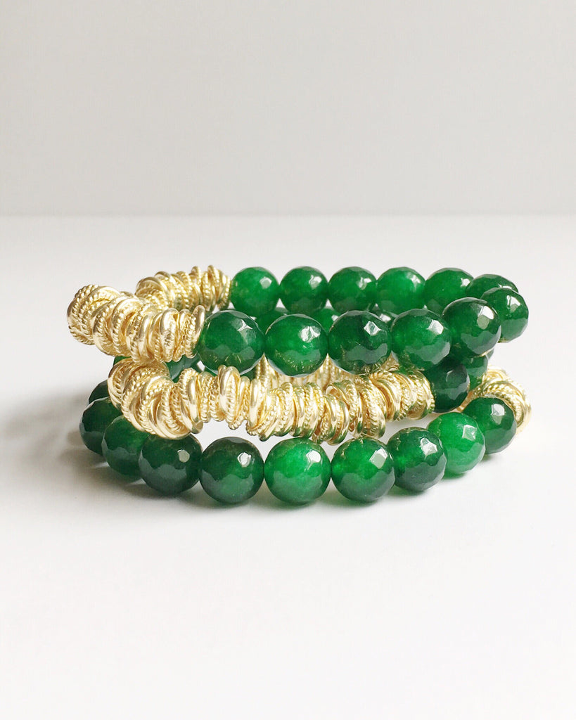 Green Jade and Gold Beaded Bracelets