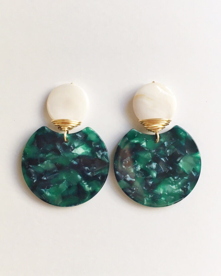 Green and Mother of Pearl Earrings