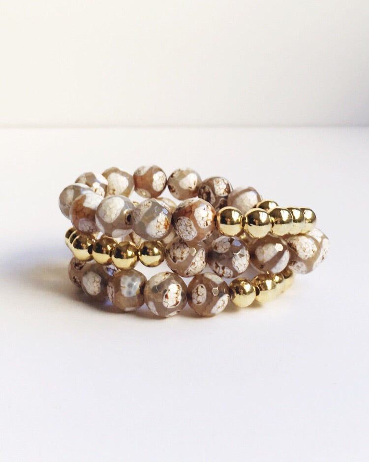 Brown and White Agate Bracelet