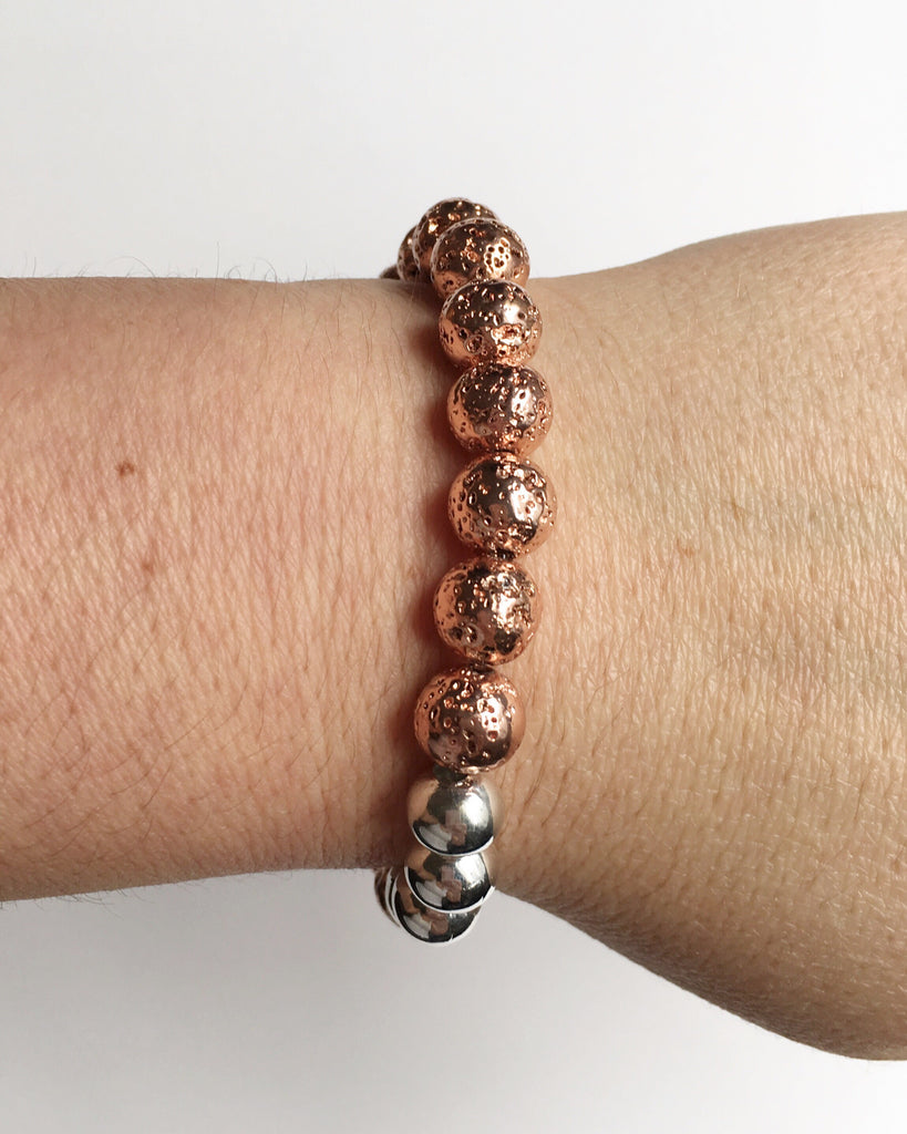 Rose Gold Lava Rock Bracelet