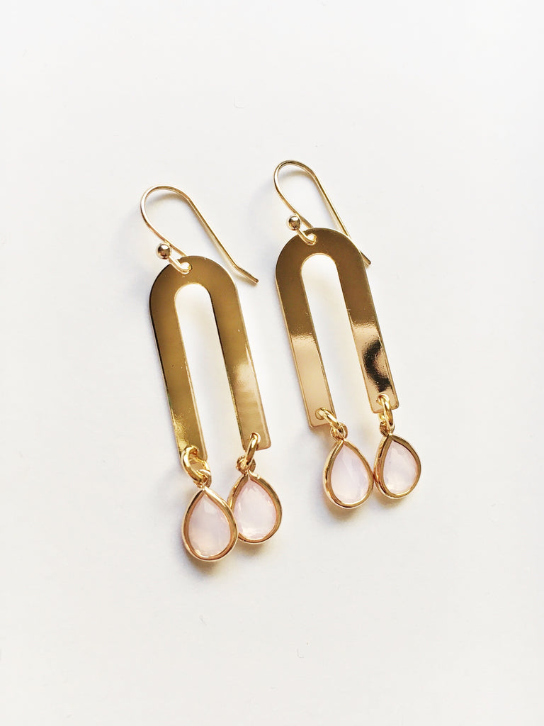 Gold and Pink U Earrings