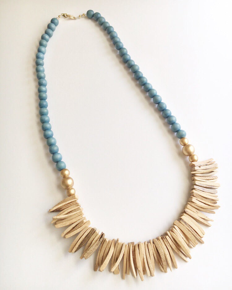 Dusty Blue and Wood Spike Statement Necklace