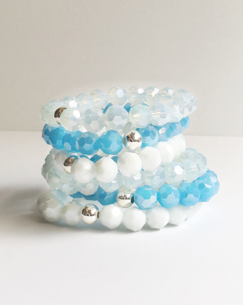Blue and White Glass Beaded Bracelets