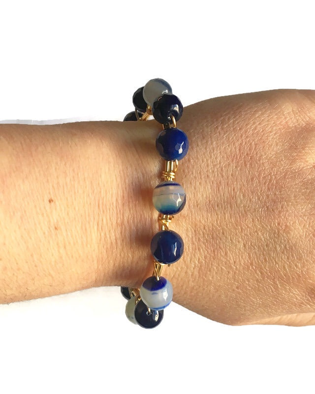 Blue Agate and Gold Bangle Bracelet