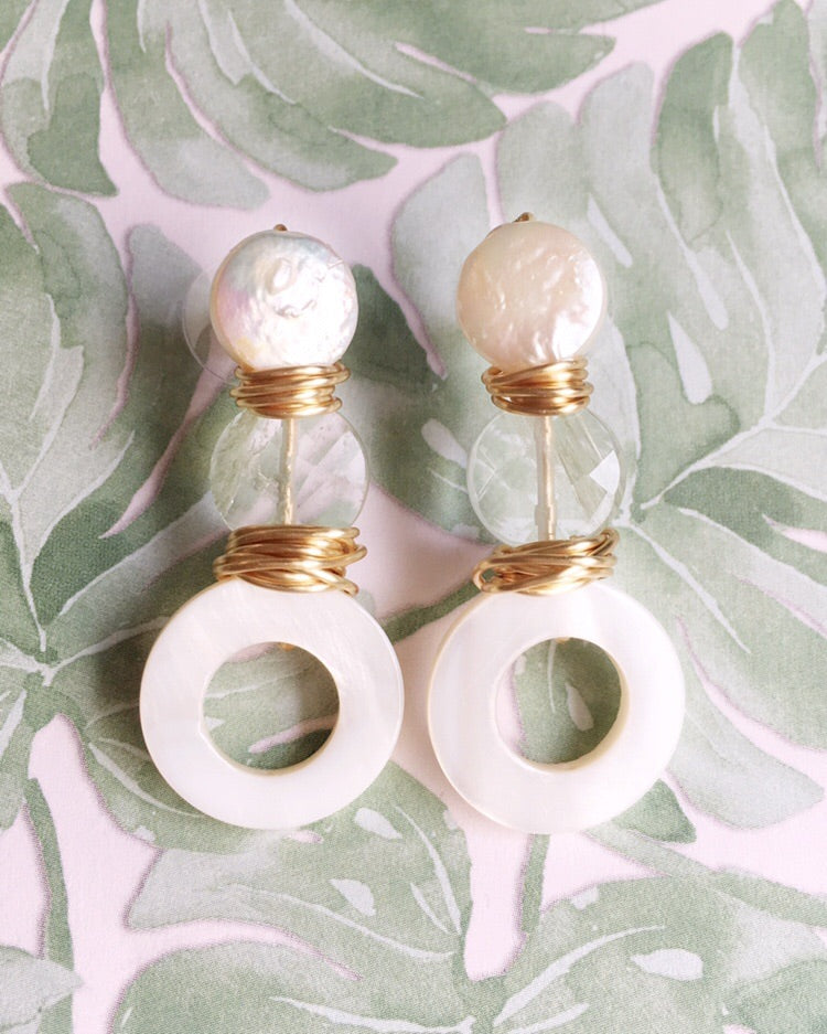 Three Stone Pearl and Quartz Earrings