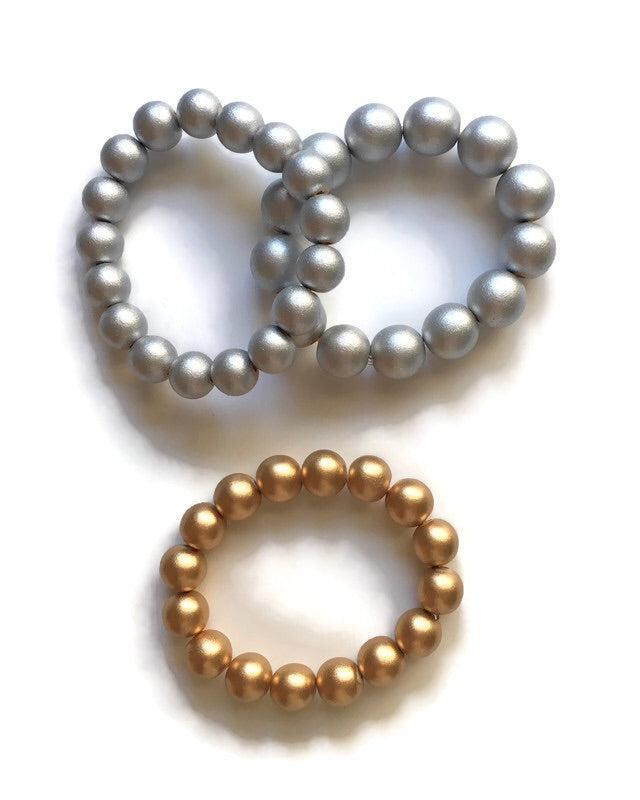 Gold and Silver Wooden Beaded Bracelets