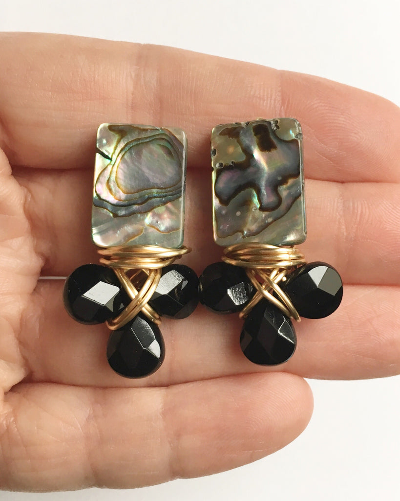 Abalone and Onyx Cluster Earrings