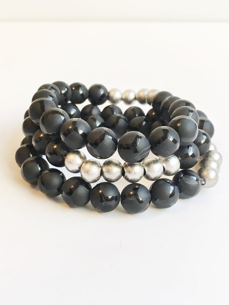 Black Giraffe Agate Beaded Bracelet