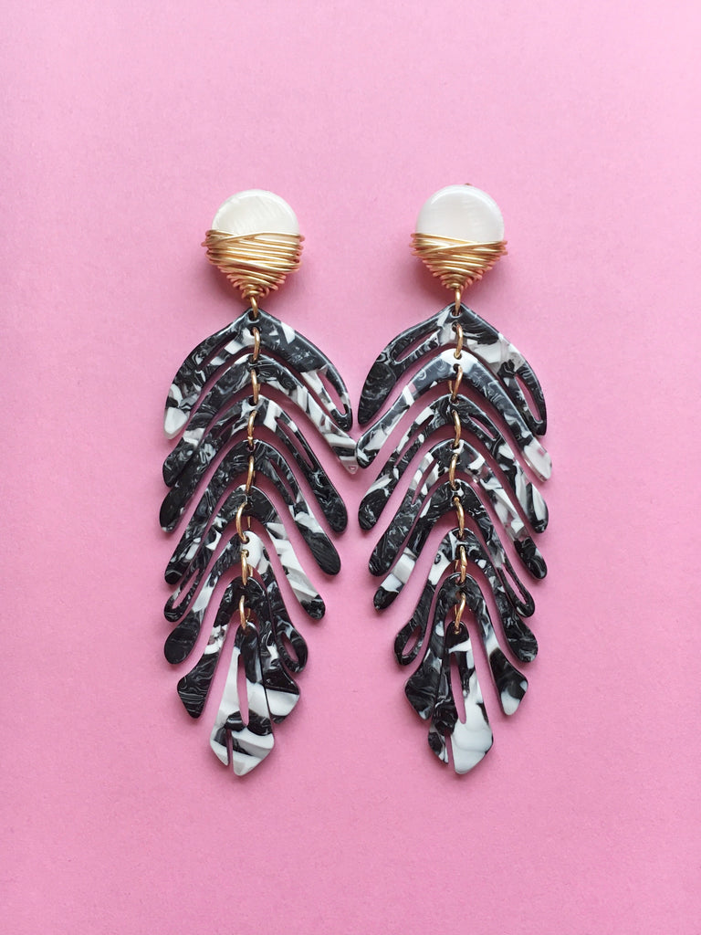 Black and White Palm Earrings