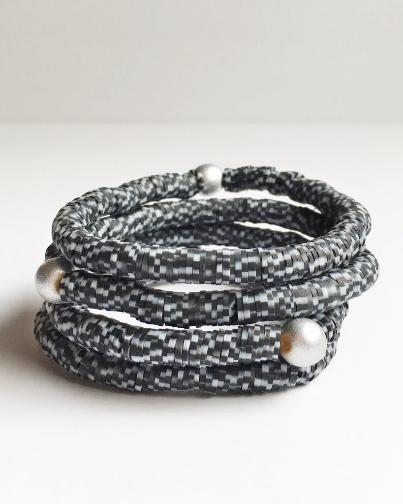 Black and Gray Confetti Beaded Bracelet