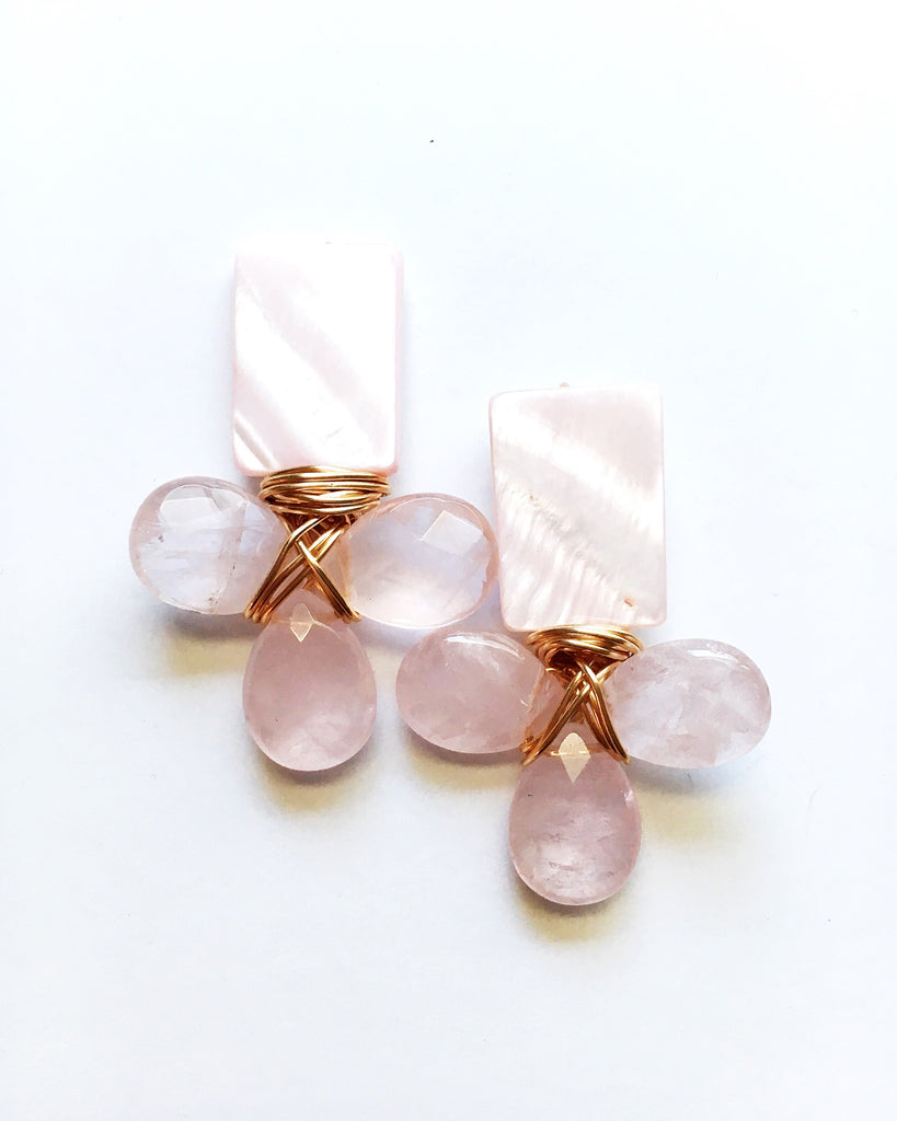 Rose Quartz and Large Teardrop Cluster Earrings