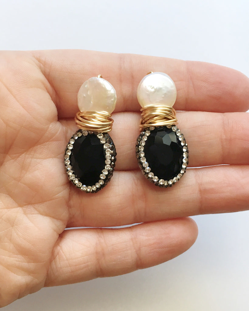 Ivory Coin Pearl and Pave Crystal Onyx Earrings