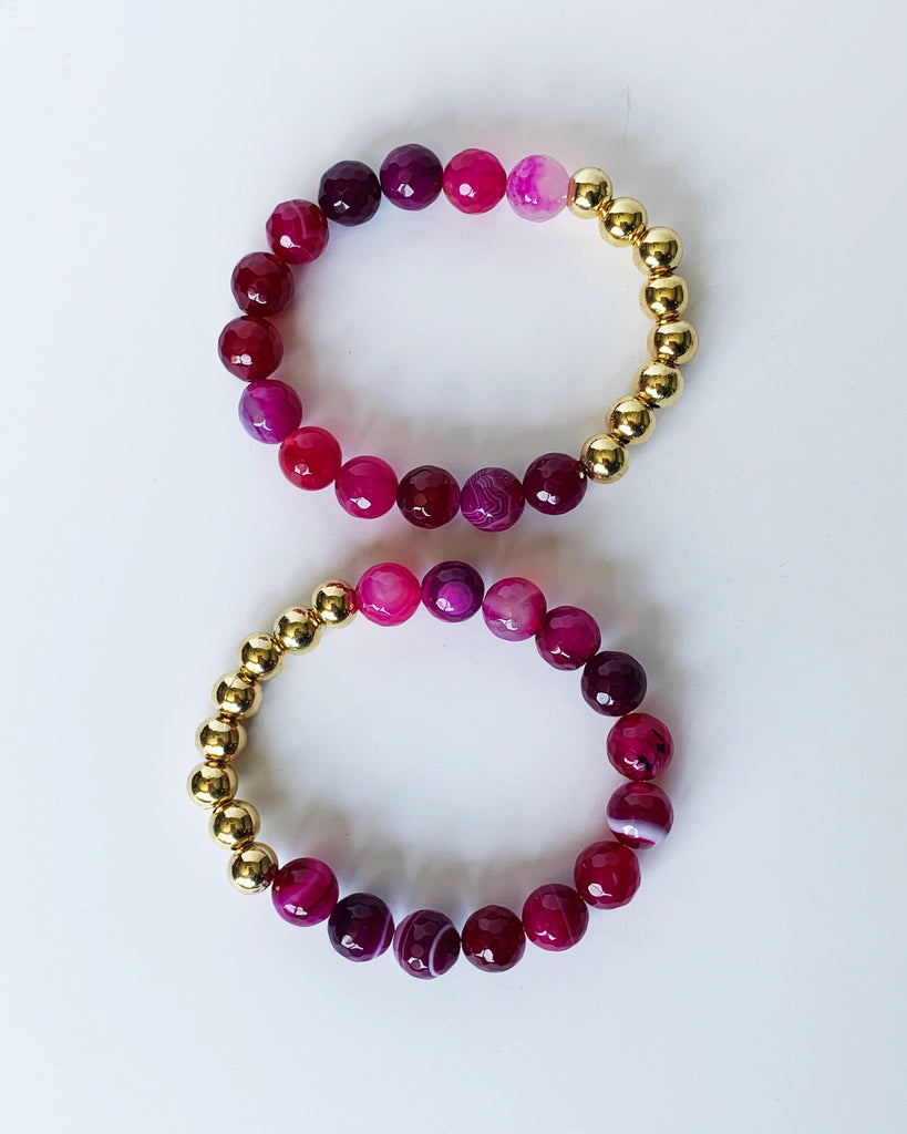 Pink Agate and Gold Bead Bracelet