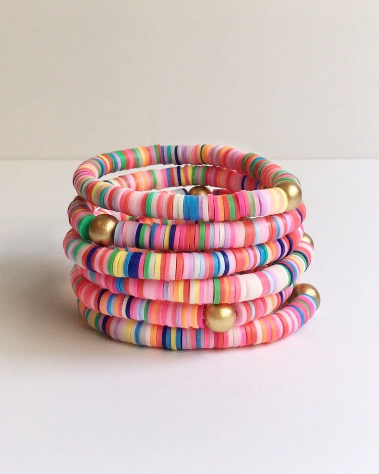 Small Rainbow Confetti Stacking Bracelet