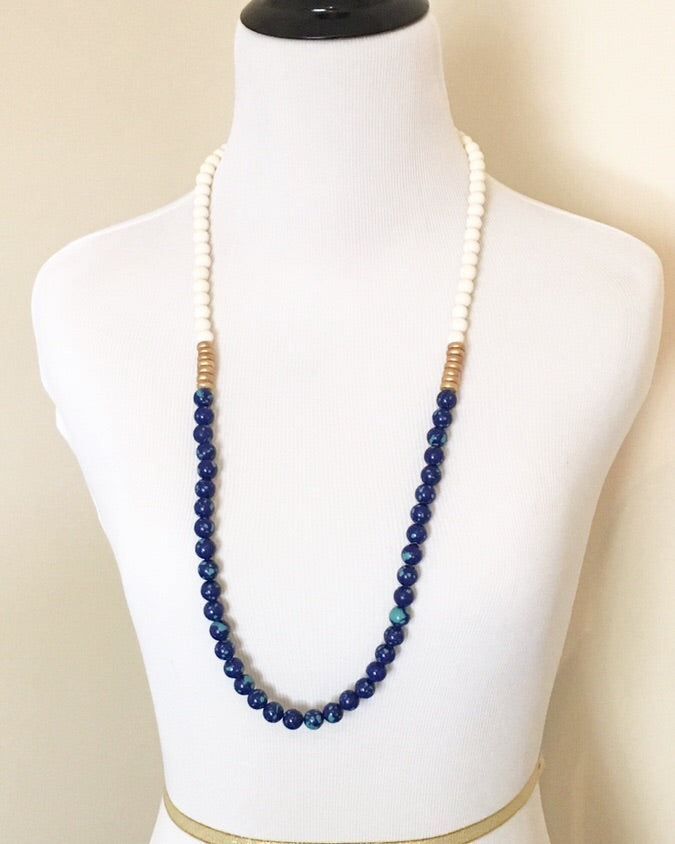 Blue and Green Quartz Long Statement Necklace