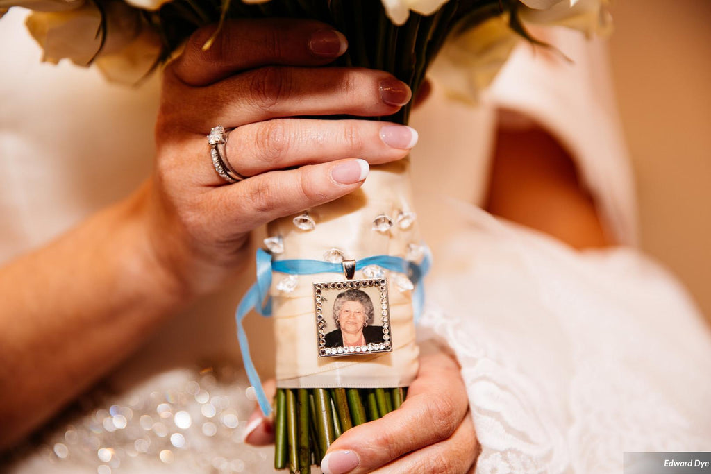 Bridal Bouquet Photo Charm with Crystals