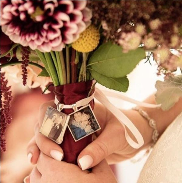 Bridal Bouquet Photo Charm with Pearls