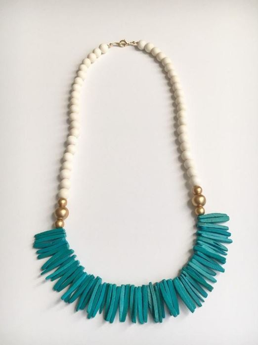 Long Turquoise, Gold, and White Tassel Statement Necklace