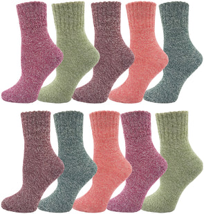 Women's Assorted Wool Thermal Socks - Solid (10 Pack)