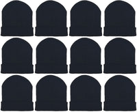 Children's Black Cuffed Beanies (12 Pack)