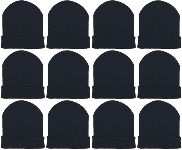 Adults Black Cuffed Winter Beanies (12 Pack)