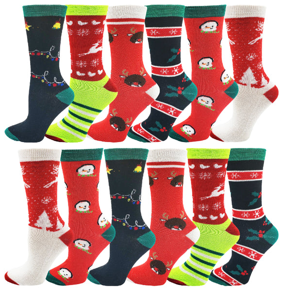 Women's Christmas Crew Socks (12 Pack)