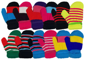 Children's Assorted Striped Mittens Gloves (12 Pack)