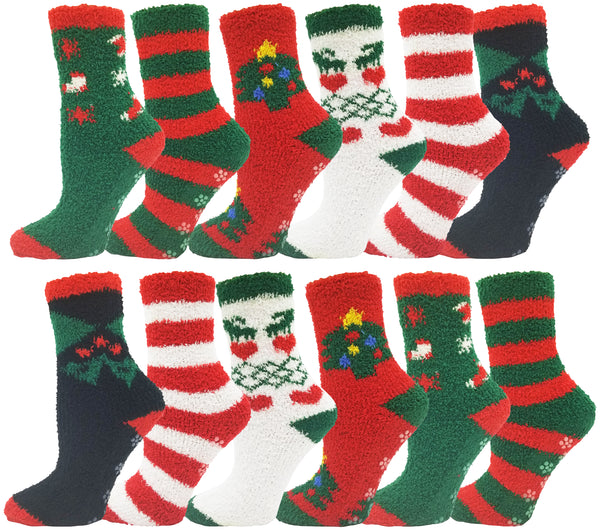 Women's Fuzzy Slipper Socks -  Christmas (12 Pack)